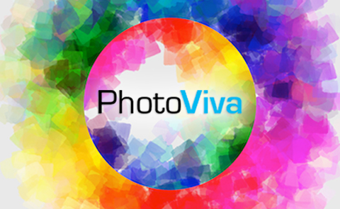 Logo of PhotoViva App. Round picture of many colors draw on the picture.