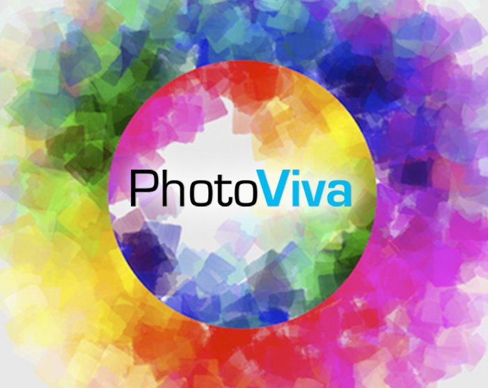 Logo of PhotoViva App. Round picture of many colors draw on the photo.