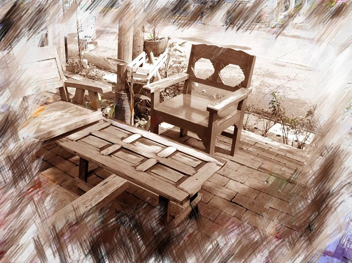 photoViva app draw on picture chair table bench
